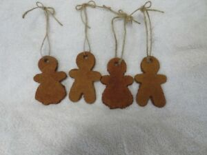 Set Of 4 Primitive Gingerbread Ornaments Cinnamon Bowl Fillers Tags Handmade