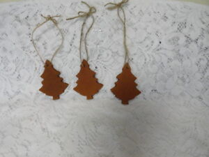 Set Of 3 Primitive Christmas Tree Bowl Fillers Ornie Ornaments Tags Handmade
