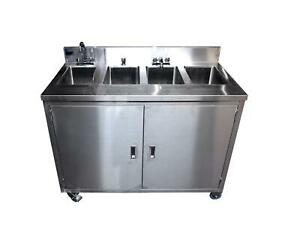 Porta Sink Ss4 Porta 4 All Stainless Steel 4 Compartment Portable Sink Nsf