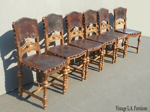 Six Vintage Spanish Revival Leather Embossed Dining Chairs W Decorative Nails
