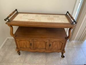 Antique Solid Wood Tea Coffee Rolling Cart With Ample Storage