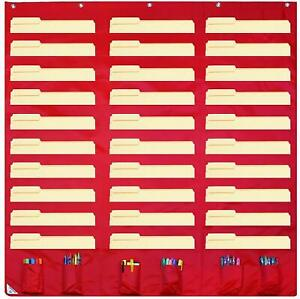 Storage Pocket Chart Hanging Wall File Organizer For Home School Office Supplies