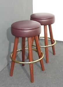 Two Pair Vintage Mid Century Modern Brown Vinyl Bar Stools Barstools