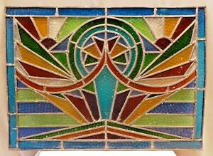 Stained Glass Leaded Colored Panels Vintage Art Deco Architectural Salvage Old 1