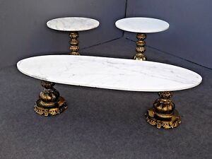 Hollywood Regency White Marble Gold Coffee Table Two End Tables