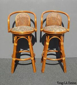 Pair Vintage Tiki Palm Beach Cane Back Bamboo Rattan Swivel Bar Stools
