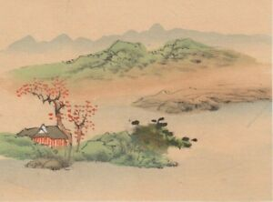 Hand Painted Japanese Miniature Ink Drawing W House On Rice Paper C1930s