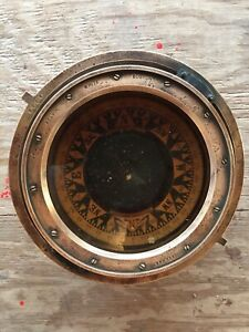 Kelvin Wilfrid O White Co Vintage Antique Gimbal Nautical Compass Brass