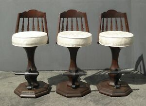 Set Of Three Vintage Spanish Style White Swivel Barstools Mid Century Bar Stools