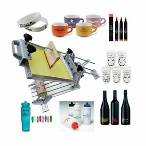 Manual Cylinder Silk Screen Printing Machine 6 Squeegee For Pen cup mug bottle
