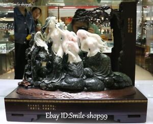 20 Museum Show Great Master Carving Natural Dushan Pink Jade Sexy Belle Beauty