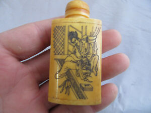 Chinese Master Hand Painted Characters The Story Cattle Bone Snuff Bottle R02