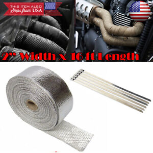 2 15ft Exhaust Header Downpipe Pipe Chrome Heat Wrap W 6 Ties For Toyota Scion