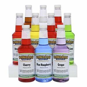Hawaiian Shaved Ice 10 Flavor Syrup Package Pack Includes 10 Snow Cone Syrup F