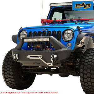 Eag Stubby Front Bumper With Led Bar Mounting Hook For 07 18 Jeep Wr