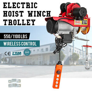 Electric Wire Rope Hoist W Trolley 40ft 550 1100lb Suspending Overhead 1000w