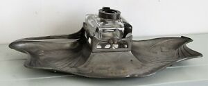 Antique Orivit 2354 Pewter Art Nouveau Desk Set Stand Ink Bottle 33cm X 14cm