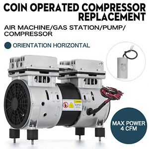 Coin Operated Compressor Air Machine Gas Pump Horizontal Oil less 50 150psi