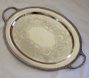 Vintage Wm Rogers 8680 Engraved Silverplate Oval Tray With Handles 1946 Wwii Era