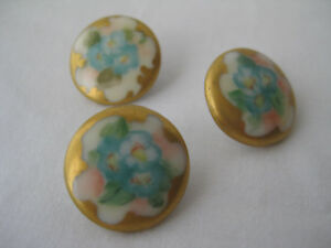 Set Of 3 Antique Gilded Porcelain Buttons With Handpainted Blue Flowers