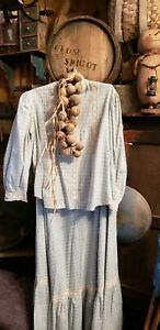Antique Primitive Early Blue Homespun Dress Blouse And Skirt