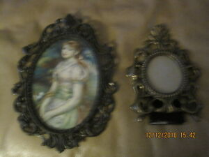 Set Of 2 Vintage Victorian Lady Ornate Brass Metal Wall Frames Made In Italy