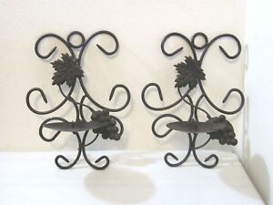 Wrought Iron Wall Sconces Candle Holders 2 Bronze Colored