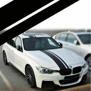 Dual Accent Rally Strips Black Sticker For Bmw Full Body Hood Roof Trunk