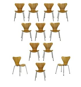 Mid Century Modern Reproduction Jacobsen Fritz Hansen 12 Molded Side Chairs