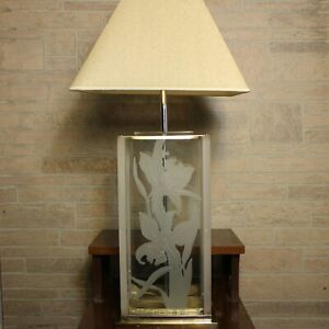 Mcm Fredrick Ramond Glass Lucite Frosted Art Deco Hollywood Regency Table Lamp