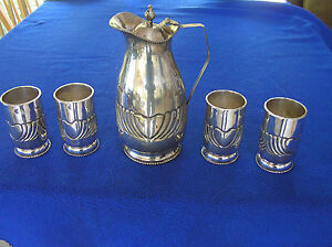 1088 G Silver 900 Repousse Oriental Eastern Wine Water Pitcher Four Glasses