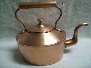 Antique Metalware Solid Copper Tin Lined Tea Kettle Pot 1800 S