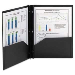 Poly Two pocket Folder With Fasteners 8 1 2 X 11 Black 25 box 2 Pack