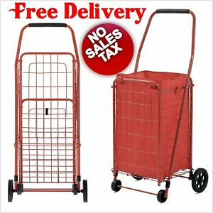 Folding Shopping Cart Grocery Basket Heavy Duty With Liner Rolling Utility Wheel