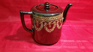 Black And Ceramic Porcelain Teapot England And Gibson Sons Hand Painted