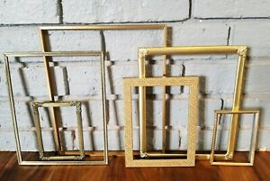 Lot Of 6 Vintage Antique Picture Frames Shabby Decor Wedding Art Gold Toned