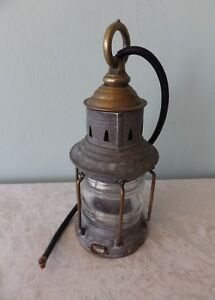 Antique Maritime Oil Lamp Electrified Glass Globe Lantern Nautical Ships Boat 9