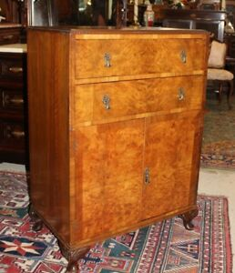 English Burl Walnut Queen Anne 2 Door 2 Drawer Small Cabinet Bedroom Furniture