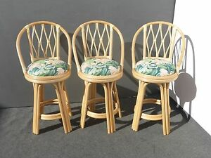 Three Vintage Mid Century Floral Swivel Rattan Bamboo Bar Stools Leather Strap
