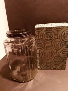 Vintage Necco Candy Art Deco Glass Display Jar And Box General Store
