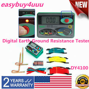 Dy4100 Digital Earth Ground Resistance Meter Tester 0 20 200 2000 Us Fast Ship