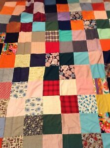 Vintage Quilt Top Multi Color Hand Stitched