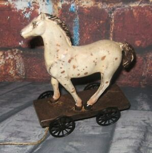 Horse Pony Pull Toy Sculpture Primitive French Country Farmhouse Barn Decor New