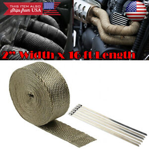 2 15ft Exhaust Header Downpipe Pipe Titanium Heat Wrap For Nissan Infiniti