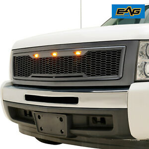 Eag 2007 2013 Chevy Silverado 1500 Grille Replacement With 3 Amber Led Lights