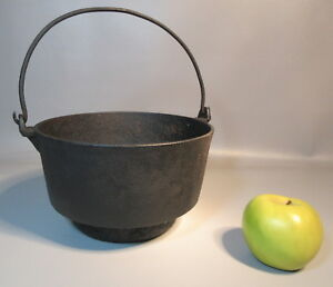 C1895 Primitive Cast Iron Eccentric Deep Kettle W Bail Wire Handle