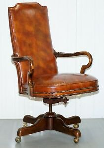 Century Chair Company Hand Dyed Brown Leather Captions Directors Office Chair