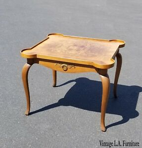 Vintage French Style Side Table End Table W Burl Wood Table Top By Baker Furn