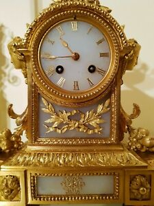 Antique French Ormolu And White Stone Mantel Clock