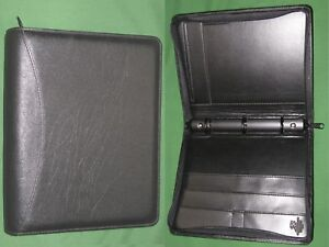 Classic 1 25 Black Fine Leather Day Runner Planner Binder Franklin Covey 9518